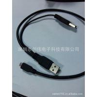 深圳创伟 供电脑透明蓝 移动硬盘盒数据线 2USB AM-AF cable