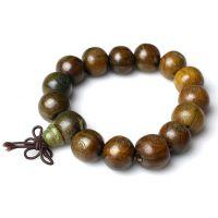 天然绿檀木手链批发 檀木手链 绿檀手链 佛教手链饰品 刻字佛珠