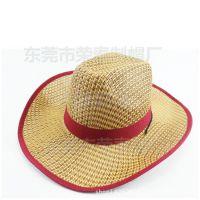 新款夏季草帽 草编韩版个性草帽 韩版草帽 个性编带爵士草帽包边
