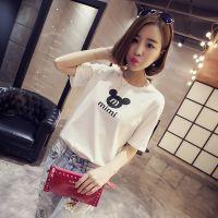 【小颖家】2015夏装新款韩版显瘦圆领短袖字母印花T恤衫打底衫女