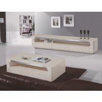 豪艺轩品牌,现代简约风,钢化玻璃钢琴烤漆香槟色电视柜+茶几