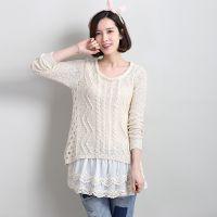 2015春季新款韩版女装针织衫假两件蕾丝内衬套头打底镂空毛衣外套