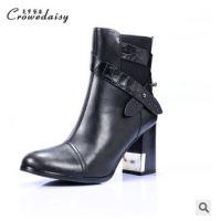秋冬新款欧美时尚皮带扣装饰进口纤维短筒马丁靴女靴高跟