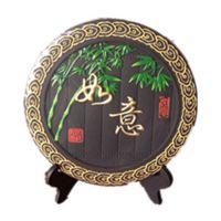 北京炭雕礼品 会议乔迁商务搬新家礼物利美亚碳雕圆盘摆件 如意