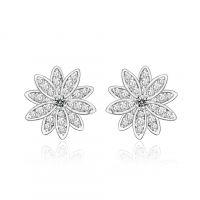 丽金LI JIN 玫瑰绽放花时尚简约女式耳钉 珠宝首饰厂家货源