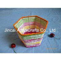 博白编织工艺品 彩色纸绳编织花篮花桶 中号糖果篮 十元店货源