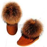 特价厂家BUB冬季5854女狐狸毛雪地靴批发真皮女士短靴时尚低筒靴