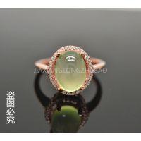 直销批发天然葡萄石925银镀玫瑰金手饰戒指 指环 天然宝石