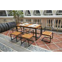 美式复古简易餐厅桌子快餐饭店铁艺家具实木餐桌家用餐桌椅组合