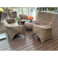海口阳台藤椅休闲三件套 户外花园家具 编藤家具 藤条沙发