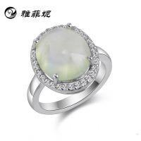 925纯银 女士天然圆形冰种葡萄石 微镶瑞士钻戒指 指环 正品清新