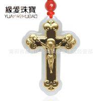 缘爱珠宝 翡翠a货千足金吊坠 耶稣十字架金镶玉挂件情人节礼物