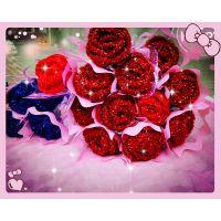 生日红玫瑰礼盒花束 蓝色妖姬 手工毛线编织情人节玫瑰花 送女友
