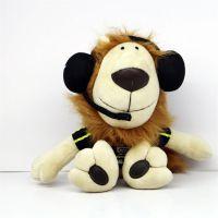 创意动物填充毛绒玩具耳机狮子公仔可定制批发