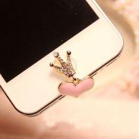 皇冠 粉色爱心 苹果4 4s 5 5S手机按键贴手机配件批发