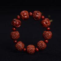 精品 正宗印度小叶紫檀富贵一生佛珠手串 雕刻一生富贵2.0手链