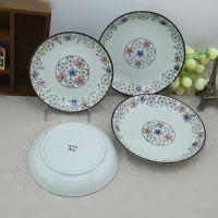 厂家批发7寸和8寸高温釉下彩手绘盘圆盘汤盘菜盘陶瓷圆盘水果拼盘