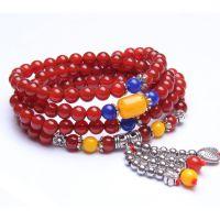 天然红红玛瑙佛珠手链男女情侣款搭配蜜蜡水晶饰品批发