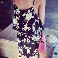 小银子2015夏装新款气质清凉度假花朵吊带雪纺连衣裙女Q4461