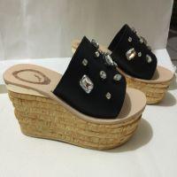 外贸年欧美范儿松糕鞋大牌同款拖鞋进口牛皮水钻女鞋厂家直销代发