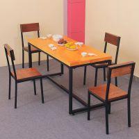 创意欧式铁艺复古实木餐桌 酒店饭店餐厅多功能家用休闲快餐桌子