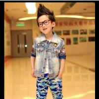 2015春秋装新款男童外套 韩版单排扣拼接牛仔外套中大童厂家直销