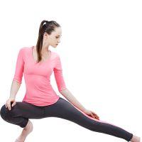 2015新款瑜伽服健身套装半袖中裤素色纯色显瘦时尚