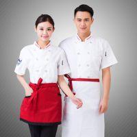 酒店厨师服短袖夏装半袖男女夏季厨师服装食堂厨师工作服短袖