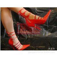 2015欧美出口新款女鞋12厘米红色镂空尖头外贸鞋细高跟鞋单鞋批发