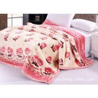 厂家直销现货双层拉舍尔毯 剪花毯 加厚平网印花毯 多种颜色可挑选