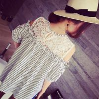 小银子2015夏装新款韩国范露肩蕾丝拼接竖条显瘦T恤上衣T5435