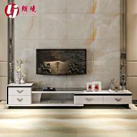 可伸缩电视柜 简约现代黑白烤漆钢化玻璃组合影视柜特价厂家直销