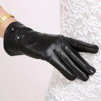 特价海宁真皮手套女式绵羊皮加厚加绒分指保暖女士可爱皮手套春秋