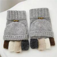 羊毛翻盖手套保暖加厚分指包指半指男士手套撞色针织毛线手套