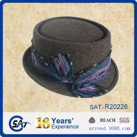 工厂供应来样来图出口定做纯羊毛呢毡男女士小礼帽子 prokpiehat