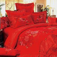 银桑蚕丝被 全棉十件套床上用品棉品套件 中国结婚庆