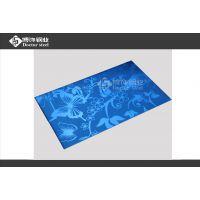 宝石蓝不锈钢镜面板喷砂 1.0mm钢板蚀刻蝴蝶 厂家直销优质SUS304