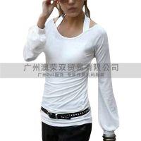 2014泡泡袖系后背交叉吊带打底衫韩版时尚修身T恤女装外贸批发