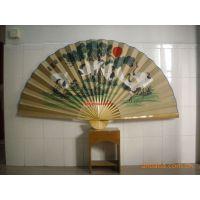 90cm中堂绢面大挂扇子,手绘白鹤挂扇,竹制工艺品