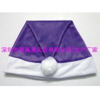 定做圣诞帽 紫色短毛绒圣诞节帽子 圣诞帽来图订制厂家