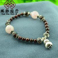 S925纯银 葫芦泰银天然水晶石榴石手链女 波西米亚 复古风饰品