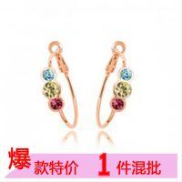促销价!珠宝首饰 高档饰品生产厂家 奥地利水晶耳环 幸福相随A15