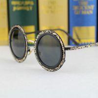 2015爆款推荐 花纹圆形镜框太阳镜 时尚太阳眼镜女士墨镜批发代发