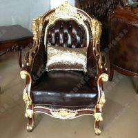 欧式高档大气豪华酒店真皮拉扣沙发椅 雕花金色鎏边实木框架单人沙发