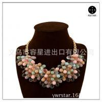 欧美时尚夸张彩色水晶宝石花朵短款锁骨项链女装配饰速卖通货源