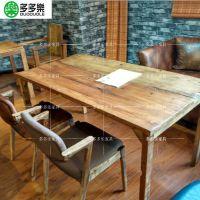 美式乡村西餐厅咖啡厅桌椅 复古工业风多多乐家具定制餐厅板式桌椅