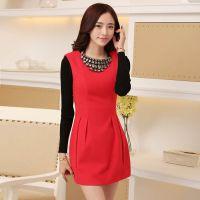 实拍加厚2014秋冬新款红色礼服 欧美时尚气质无袖背心连衣裙