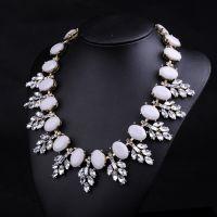2014速卖通热卖欧美饰品 水晶树叶宝石项链女短款锁骨毛衣链N374