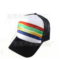 彩虹网帽网眼棒球帽子 卡车遮阳帽定做太阳帽定制网帽透气防晒