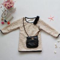 秋冬童裙 高档韩国品牌童装 毛毛衣加装饰口袋儿童连衣裙保暖时尚